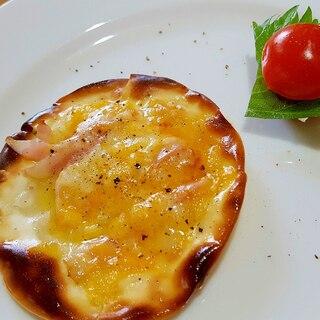 家フレンチ☆前菜に餃子の皮でタルトフランベ