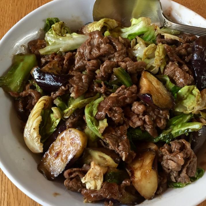 牛肉と茄子のバルサミコ酢炒め