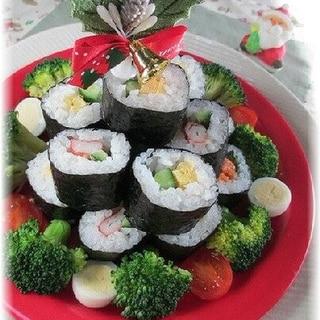 のり巻きでクリスマスツリーの寿司ケーキ♪