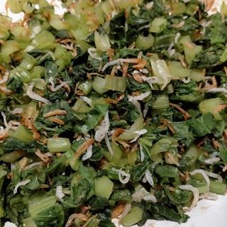 大根の葉っぱ&桜えび&しらすの炒め煮