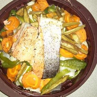 レンジでタジン鍋 鮭の野菜蒸し