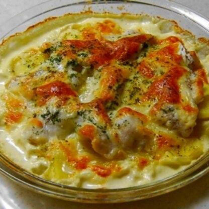鱈とジャガイモの焼くだけグラタン