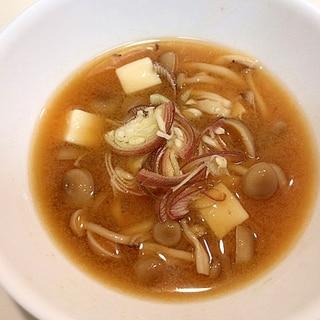薬味たっぷりのせて☆しめじと豆腐の美味しい味噌汁