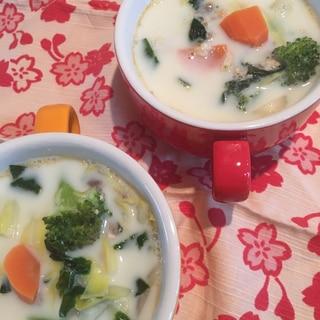 鮭缶のミルクスープ