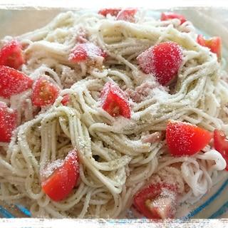 ツナ&ミニトマト入り☆バジルソースで素麺