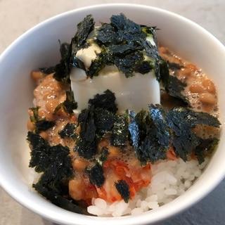 豆腐とポン酢でさっぱり納豆キムチ丼