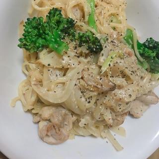 明太子クリームパスタ〜鶏肉とブロッコリー〜