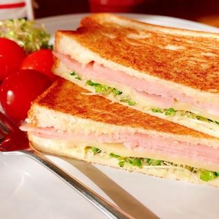【簡単美味】ハムとチーズとスプラウトのホットサンド