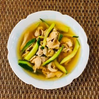さっぱり!豚バラ肉ときゅうりの冷製スープ