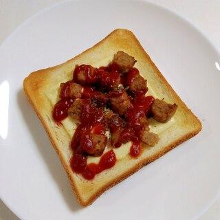 朝食に☆ハンバーグチーズトースト