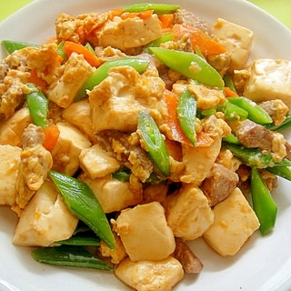 スナップエンドウと豚肉の豆腐チャンプルー