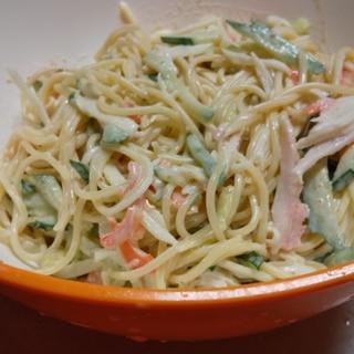 簡単 ごま風味☆カニかまのスバゲッティサラダ