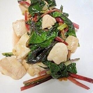 鶏肉とスイスチャードの炒め物
