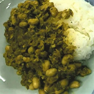 サバ缶と大豆のドライカレー