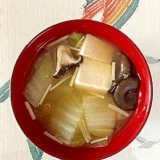 白菜、木綿豆腐、ひらたけ、えのきのお味噌汁