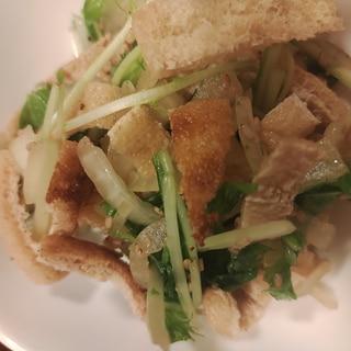 油揚げと水菜と玉ねぎのポン酢サラダ