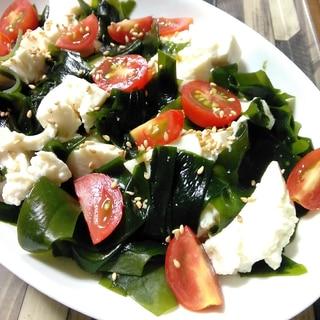 かための絹豆腐とわかめ&ミニトマトサラダ