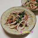 ボイルいかと水菜の生姜醤油和え