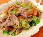 生姜醤油で簡単!肉野菜炒め。