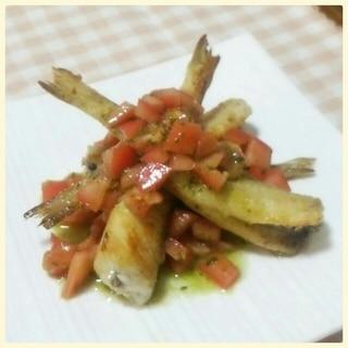 きすの揚げ焼きトマトバジルソース