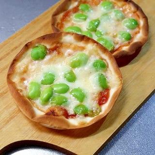 餃子の皮で枝豆チーズのピザ風☆トースターで焼く