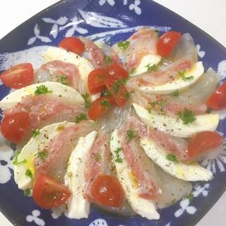 鯛とモッツァレラチーズのカルパッチョ