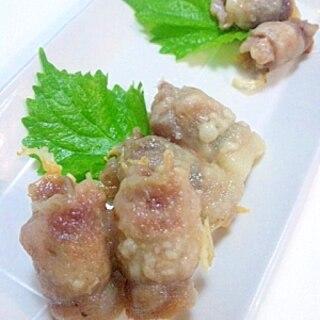 シリコンスチーマーで豚肉ロール①大葉梅②大葉チーズ