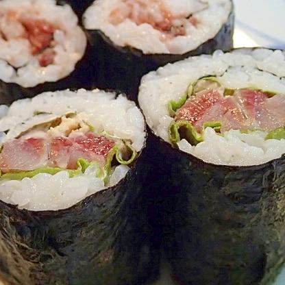 生姜マヨで サニーレタスとイワシの巻き寿司