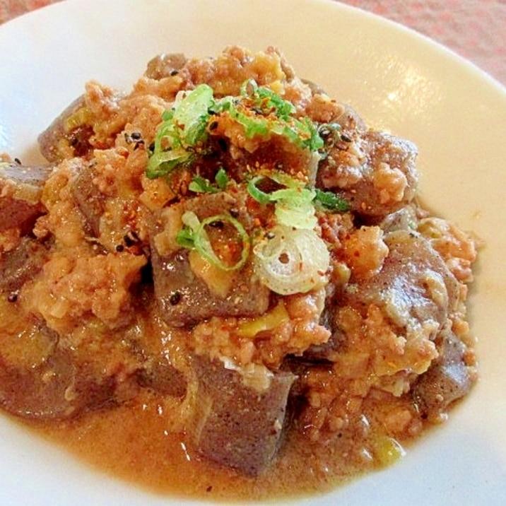 豚ひき肉とこんにゃくのこっくり味噌煮♪