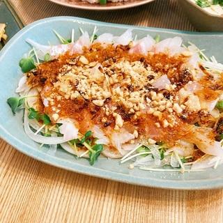 ピリ辛☆鯛の中華風お刺身サラダ