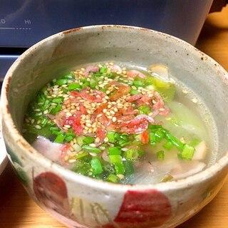 青梗菜とベーコンの中華スープ❀桜海老入り♪