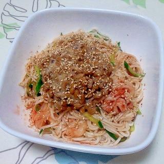 冷やしキムチ納豆素麺++