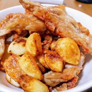ニンニクと鶏肉の鶏油炒め揚げ