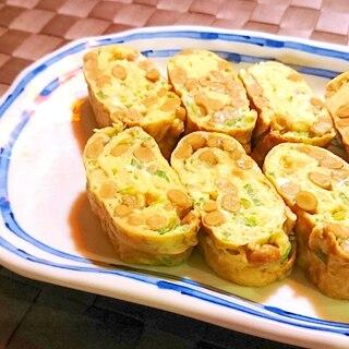 納豆とねぎの玉子焼き