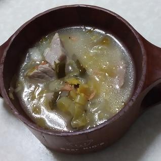 サワークラウドと塩豚の味噌スープ♪豚汁風
