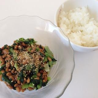 納豆と小松菜で栄養満点♪朝ごはん