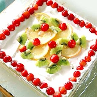 イワキのケーキ型で!フルーツたっぷりスコップケーキ