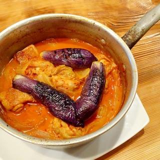 鶏肉と茄子のさっぱりキムチ煮