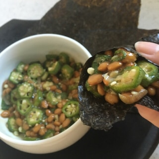 ハサミで簡単チョッキング♪ネバネバ手巻き納豆