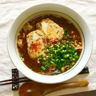 袋麺で簡単ランチ♪鶏ひき肉玉子巾着入味噌煮込み♡
