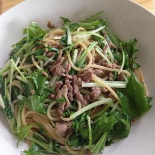 水菜deひき肉パスタ♪
