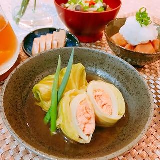 糖質制限☆鮭の和風ロールキャベツ
