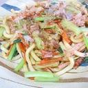 小松菜の焼きうどん~主婦のランチ
