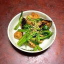 ちくわとニラと茄子のピリッと味噌炒め。