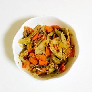 イワシの味噌煮缶の野菜炒め