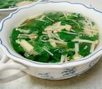 エノキとほうれん草の和風スープ