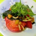 トマトとわかめナメコの青じそドレッシング和え
