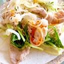 ピリッとラー油で♩水菜と豚肉の鶏ガラ蒸し