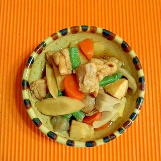 水煮野菜を使って、筑前煮♪