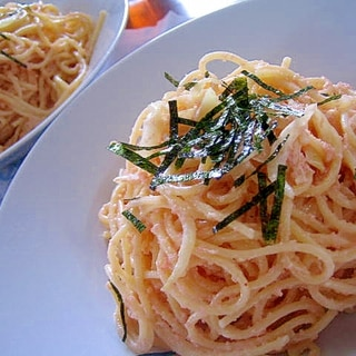 簡単美味しい♪明太子クリームスパゲティー